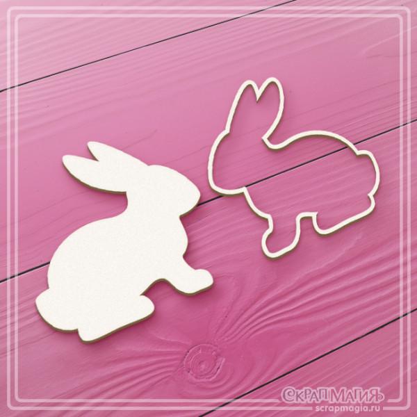 Набор чипборда пасхальные кролики 2шт. ЧБ-062