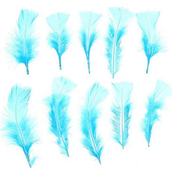 Набор перьев для декора 10 шт,  цвет голубой 1250936