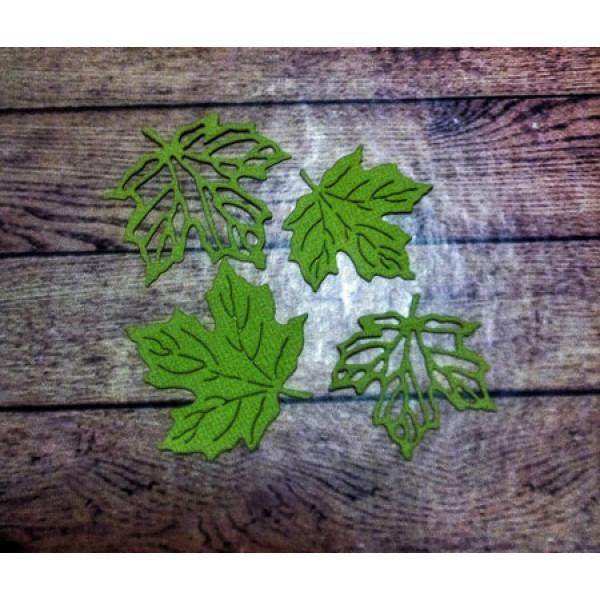 Вырубка листья клена св. зеленые кардсток 3-4 см 4 шт. 2301