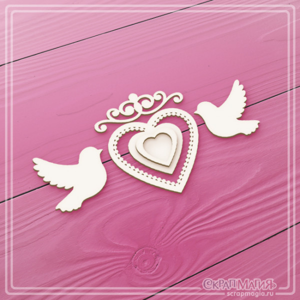 """ОПТ 3D чипборд """"Ажурное сердце и голуби"""" 5 элементов ЧБ-1342"""