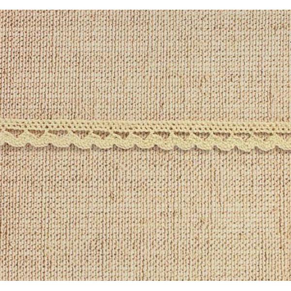 Кружево вязаное с обвязкой полукруг, 1,2см 1м, бежевое 1354141