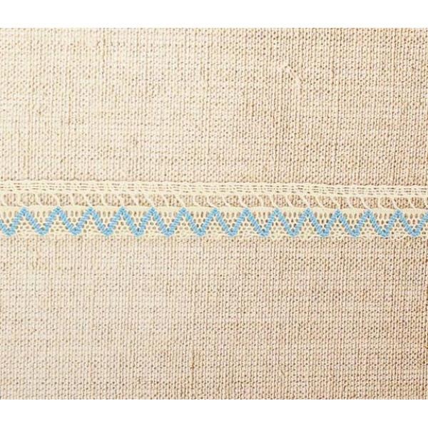 Кружево вязаное зигзаг, ширина 2 см, 1м, бежево-голубой 1354204