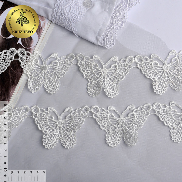 Кружевные бабочки KRUZHEVO арт.TBY.3020 шир.70мм цв.белый 1м.