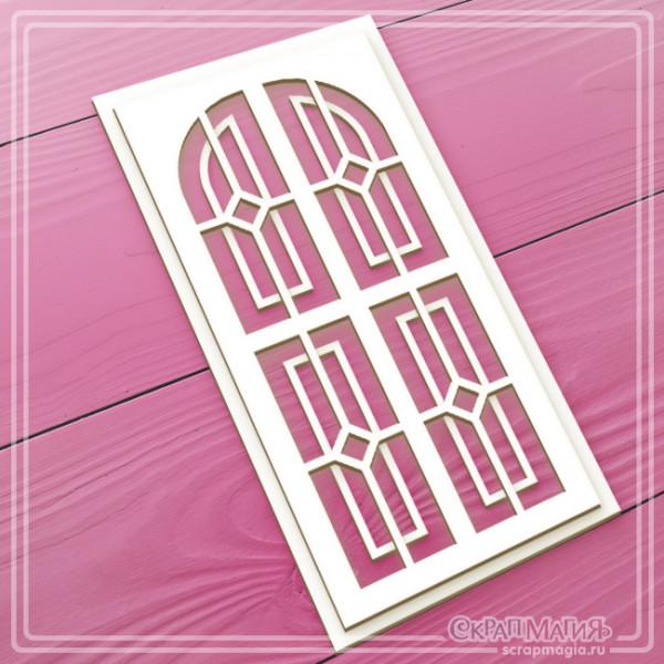 "ОПТ 3D чипборд ""Дверь с витражами"" 70х140 мм ЧБ-1736"