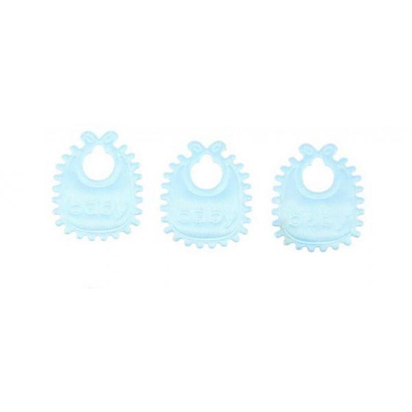 Детский нагрудник текстиль 2см голубой 5штук 1221459