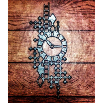 Вырубка часы фонов перлам черно-серый диз картон 9см 50502