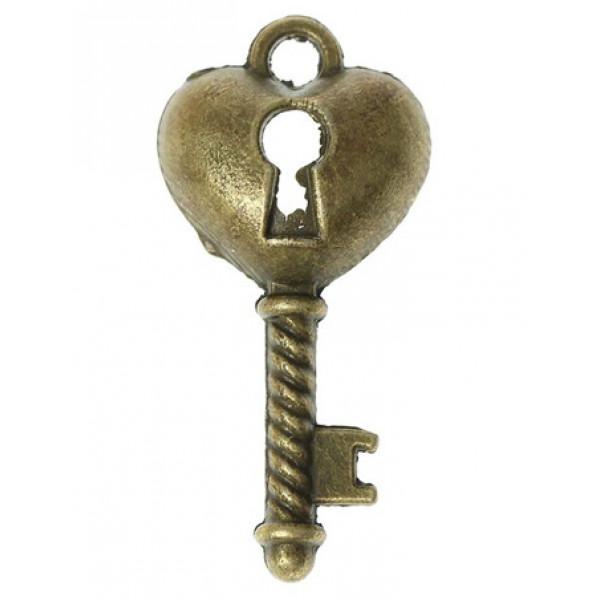 Метал. подвеска Ключик - замочек  под латунь 2,3х1,3 см 2268690
