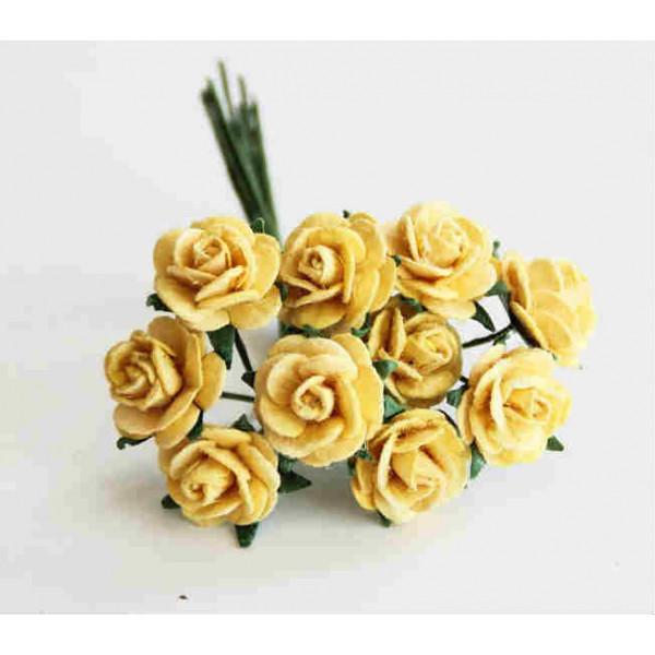 Mini розы 1,5 см - золотистые  5шт. 881