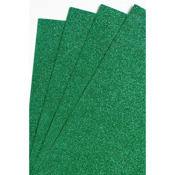 Фоамиран глиттерный Тёмно-зелёный Premium 2 мм SF-1955 №011