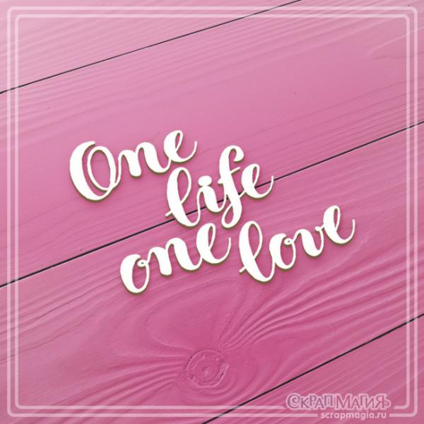 "Чипборд надпись ""One life one love"" 66х58 мм ЧБ-992"