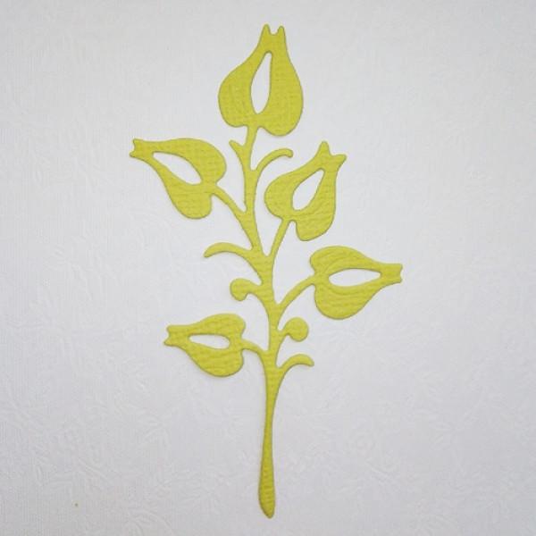 Вырубка веточка весенка зелено-желтый кардсток 7см