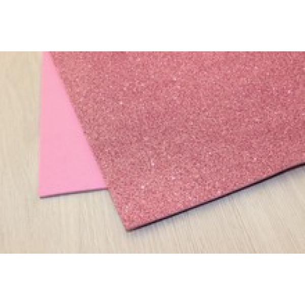Фоамиран EVA глиттерный  розовый  2мм (20*30см), упак.1шт 30/50