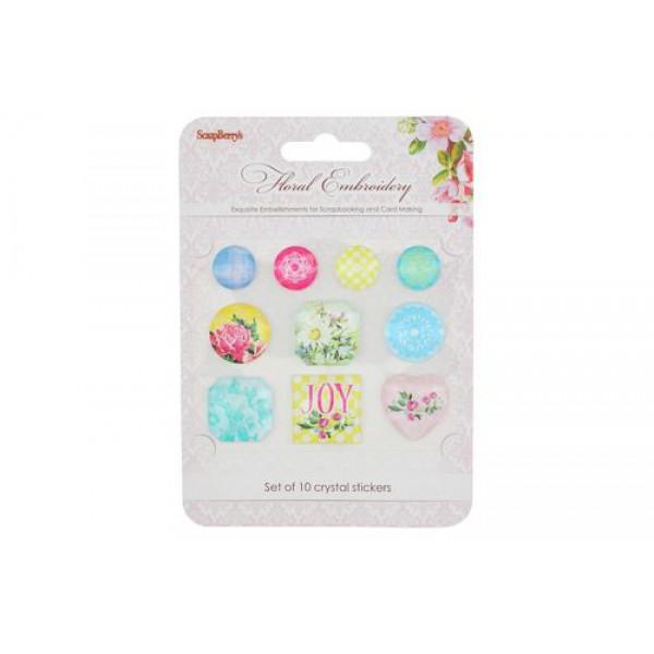 Акриловые украшения - камушки Цветочная вышивка SCB53000007