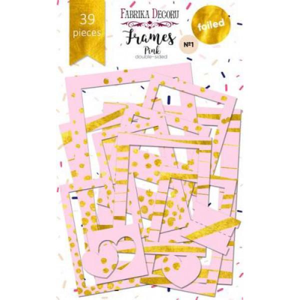 """Набор рамок с фольгированием №1 """"Pink"""" 39шт FDSDC-06005"""