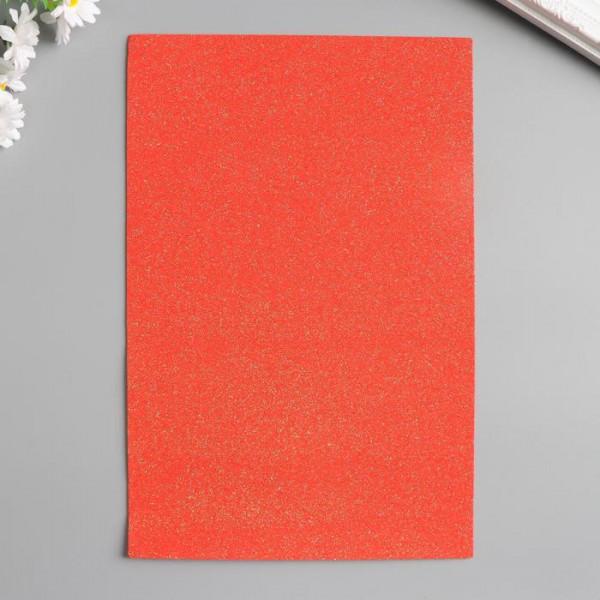 """Фоамиран """"Неоновый блеск - красный"""" 2 мм формат А4  4290489"""
