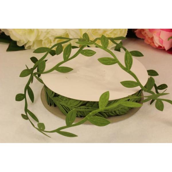 Декоративная лента 10мм 1м зеленые листики 40/300 10/30