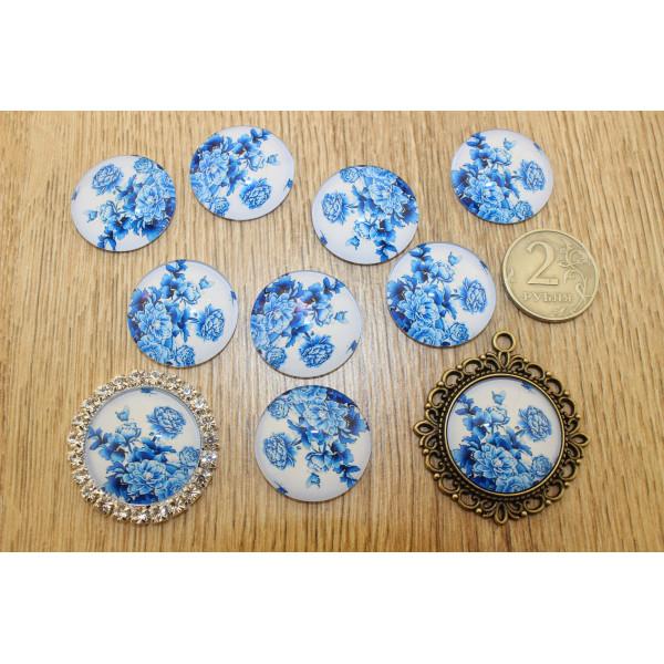 Кабошон стеклянный с рисунком 25мм синие цветы шт  Арт.: M20/63