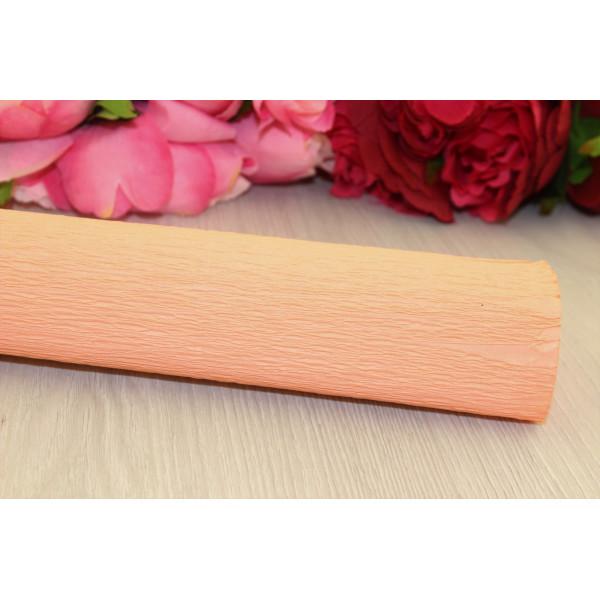 Гофрированная бумага 1/2 рулона персик  50см*1,25м 80/52