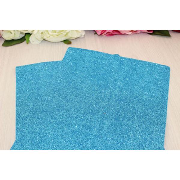 Фоамиран EVA глиттерный ярко-голубой 2мм (20*30см) C30/10
