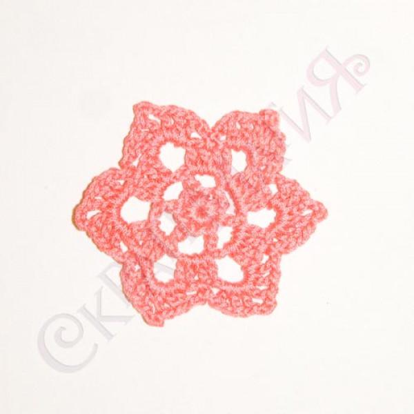 Вязанная мини-салфетка розовая 50мм  №26