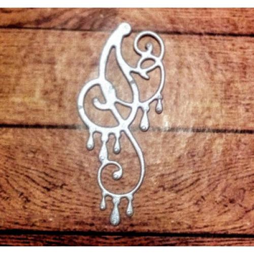 Вырубка свадебный завиток 6 см перлам св. сирен картон 23051